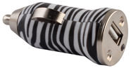 Forever Zebra 1A Car Charger w/ USB + Micro USB Cable