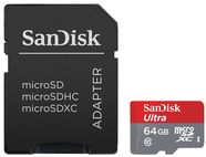 SanDisk 64GB Ultra Android microSDXC Class 10 UHS-I + SD Adapter + Android App