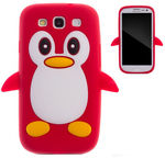 Zooky 3D Cover Samsung i9300/i9301 Galaxy S3/S3 Neo Cartoon Penguin Design Red