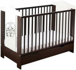Minikid Ella Baby Bed w/ Drawer 109 Venge/White Bears