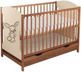 Minikid Miki Baby Bed w/ Drawer Walnut/Cream Bunny