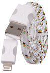Etui Super Flat Cable With Led For Apple Lightning 8pin White