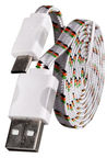 Etui Super Flat Wired Cable With Led Universal Micro USB White