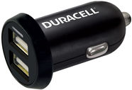 Duracell Double USB Plug Car Charger Black