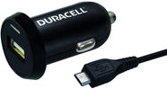 Duracell Universal Single USB Plug Car Charger With Micro USB Cable 1m Black