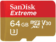 SanDisk 64GB Extreme Micro SDHC UHS-I + SD Adapter