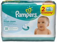 Pampers Fresh Clean Wipes 2x64pcs