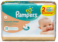 Pampers Natural Clean Wipes 2x64pcs