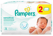 Pampers Sensitive Wipes 2x56pcs