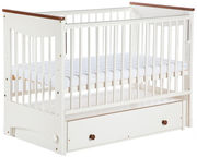 Klups LUNA Cot-Cradle With Drop Side And Drawer Ecru/Walnut