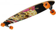 No Rules Skull-flower Longboard Black / Orange