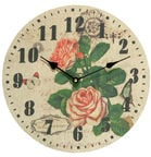 Home4you Linen Wall Clock Roses