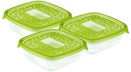 Curver Food Container Set 3PCS Square 0.6L Take Away Twist Green