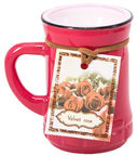 Home4you Candle In Jar Pottery D6,9xH7,2cm Red