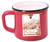 Home4you Candle In Jar Pottery D8.2xH7.2cm Red