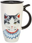Home4you Mug With Lid Mr.Cat 500ml White