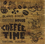Home4you Wood Print Picture 40x40cm Lifestyle Coffee Beans