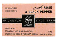 Apivita Natural Soap With Rose & Black Pepper 125g