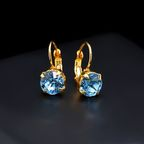 Diamond Sky Earrings With Crystals From Swarowski Magnificence Aquamarine Blue