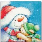 Paw Decor Collection Snowman With Teddy Napkins 33x33cm