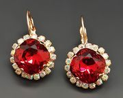 Diamond Sky Earrings Glare III Scarlet With Swarovski Crystals