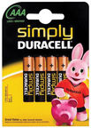 Duracell MN 2400 Simply Power AAA LR03 Batteries 4x