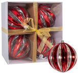 Home4you Christmas Balls 12cm 4pcs Red Stripes