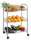 SN Shelf On Wheels 3 Stages 61x21x41cm Silver