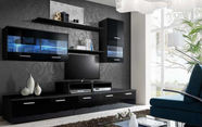 Cama Meble Wall Unit Logo II With Lights Black