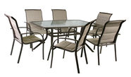Home4you Ottawa Table And 6 Chairs Set Light Brown
