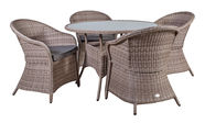 Home4you Siena Garden Table And 4 Chairs Set Grey