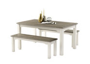 MN Dorset Table And Two Chairs Set White/Grey