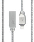 Beeyo Zinc USB To Apple Lightning Cable Silver