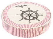 Home4you Beach House Cushion D40xH9cm Pink With Anchor