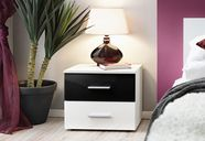ASM Vicky Bedside Table Matt White/Gloss Black/White