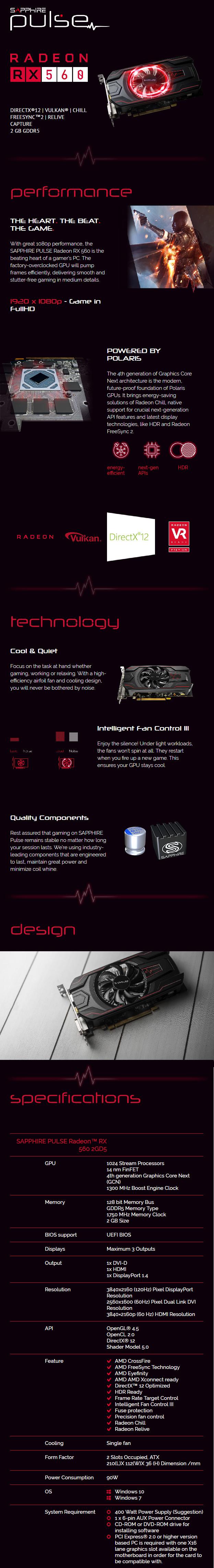Sapphire Pulse Radeon RX 560 2GB GDDR5 PCIE 11267-02-20G