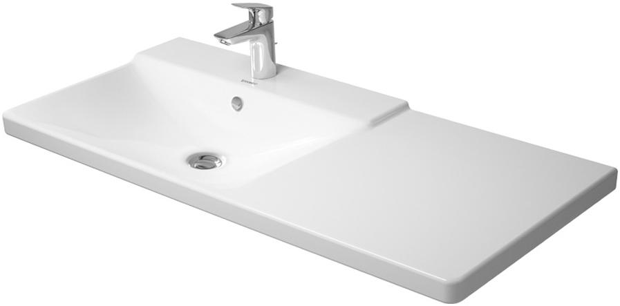 duravit p3 comforts 1250x500mm washbasin left white. Black Bedroom Furniture Sets. Home Design Ideas
