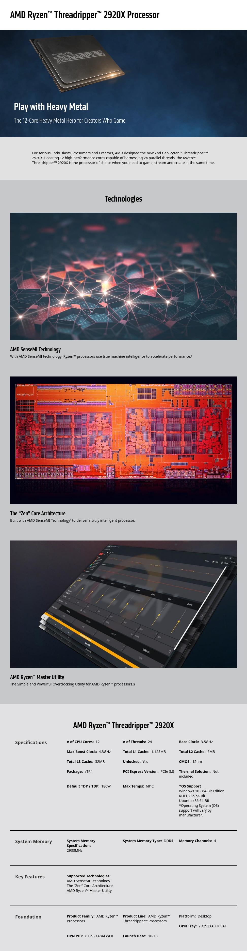 AMD Ryzen Threadripper 2920X 3 5GHz 32MB BOX YD292XA8AFWOF