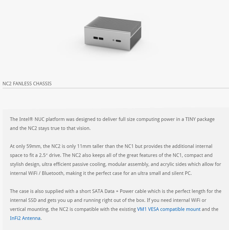 Streacom Intel NUC Case NC2 WY Silver