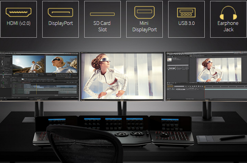 Image result for Smooth 4K UHD Content Playbacks up to 60Hz PA329Q features an array of connectivity options and supports 4K UHD content playback at 60Hz via DisplayPort 1.2, mini DisplayPort 1.2, and its four HDMI (v2.0)* ports. In addition, you're offered five USB 3.0 ports and a 9-in-1 card reader for your memory cards, peripherals, and various devices. *HDMI (v2.0) ports provide HDCP 2.2 copy protection.