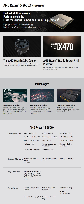 AMD Ryzen 5 2600X 3 6GHz 16MB BOX YD260XBCAFBOX