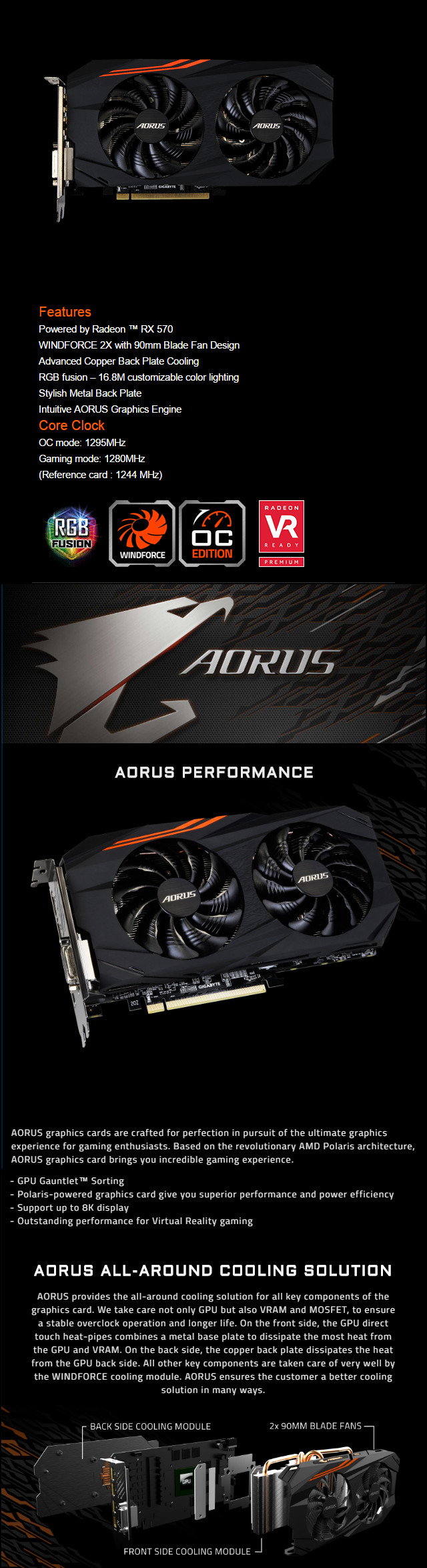 Gigabyte AORUS Radeon RX 570 OC 4GB GDDR5 PCIE GV-RX570AORUS-4GD