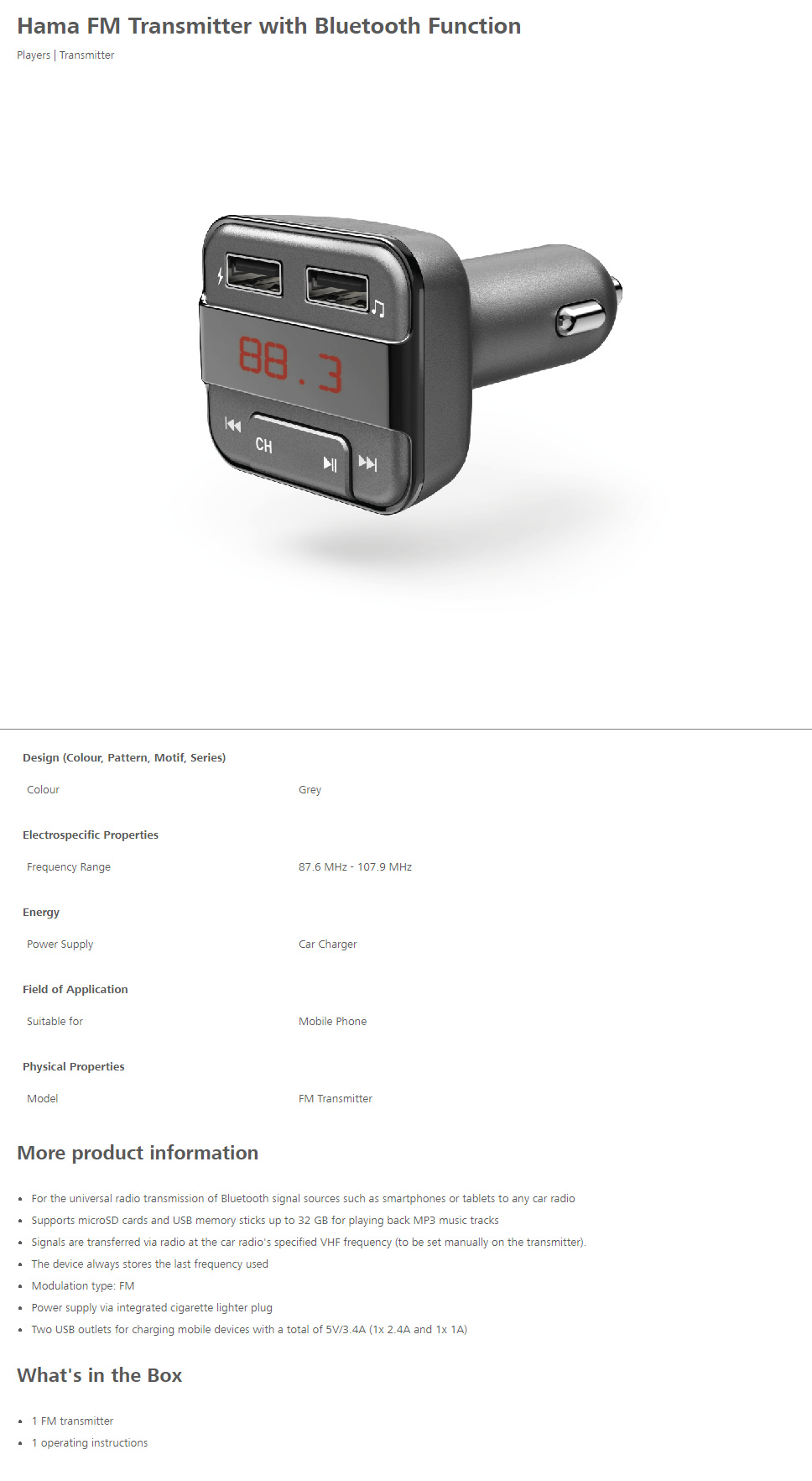 hama bluetooth fm transmitter charger fm modulaatorid. Black Bedroom Furniture Sets. Home Design Ideas