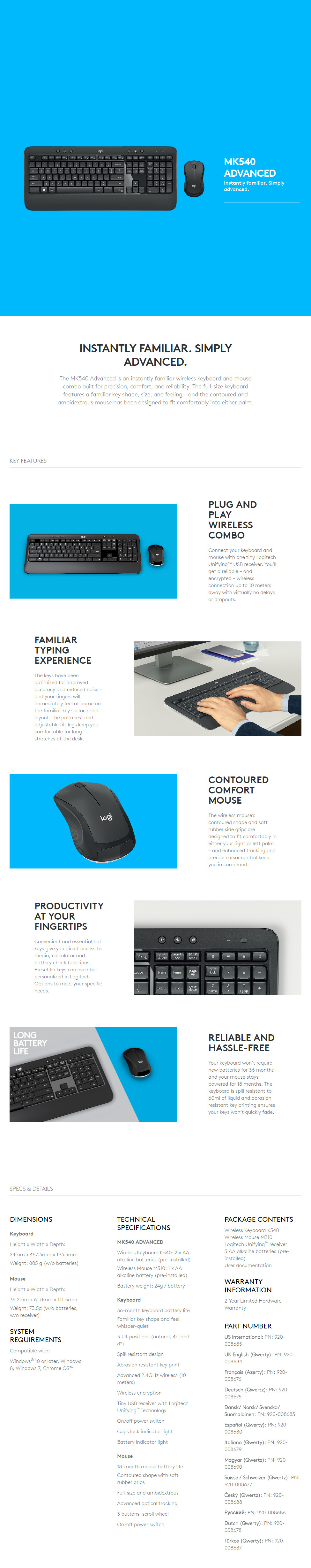 logitech mk540 advanced wireless keyboard and mouse combo 920 008693 buy best price global. Black Bedroom Furniture Sets. Home Design Ideas