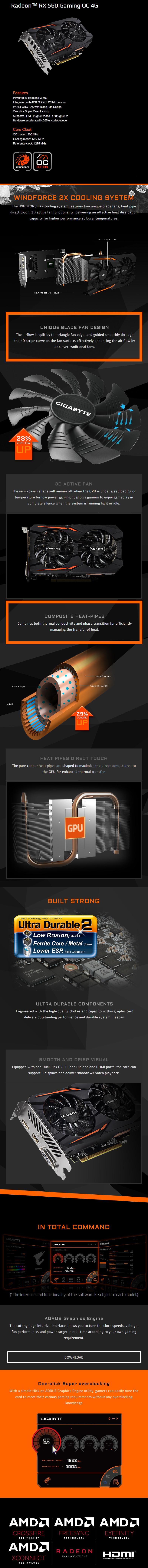 Gigabyte Radeon RX 560 Gaming OC 4GB GDDR5 PCIE GV-RX560GAMING OC-4GD