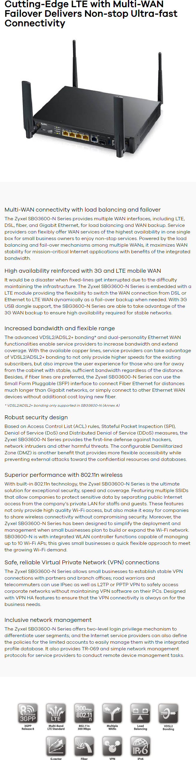 Zyxel SBG3600 LTE Multi-WAN Small Business Gateway