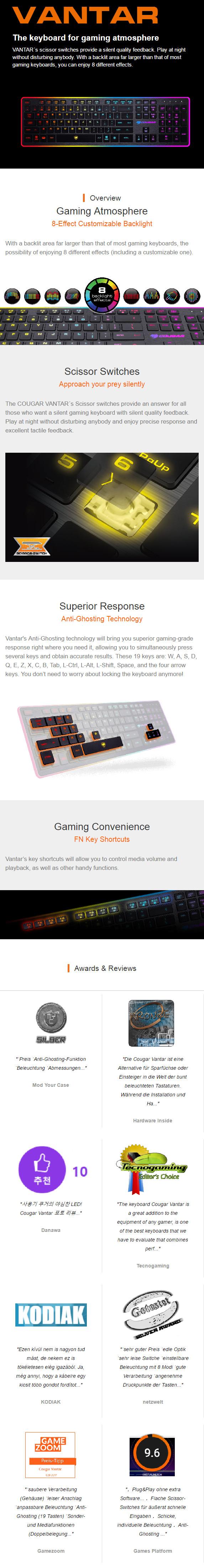 Cougar Vantar Gaming Keyboard US Black :: Клавиатуры