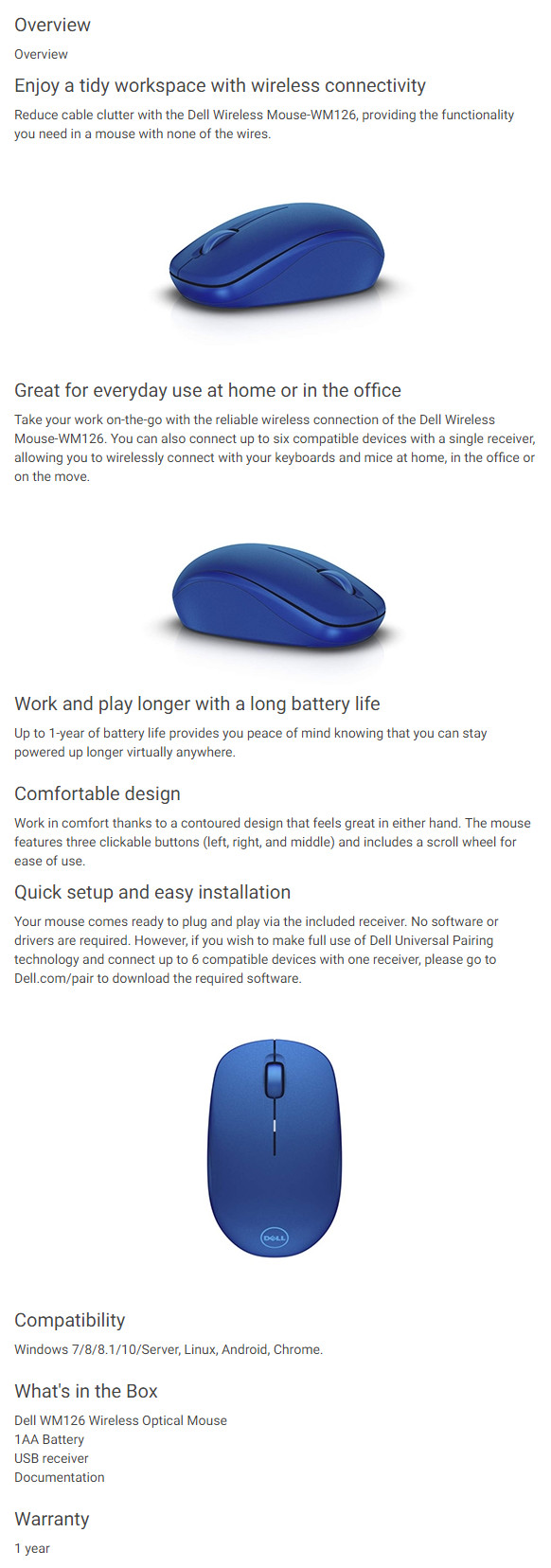 Dell Wireless Mouse Wm126 Blue Optical