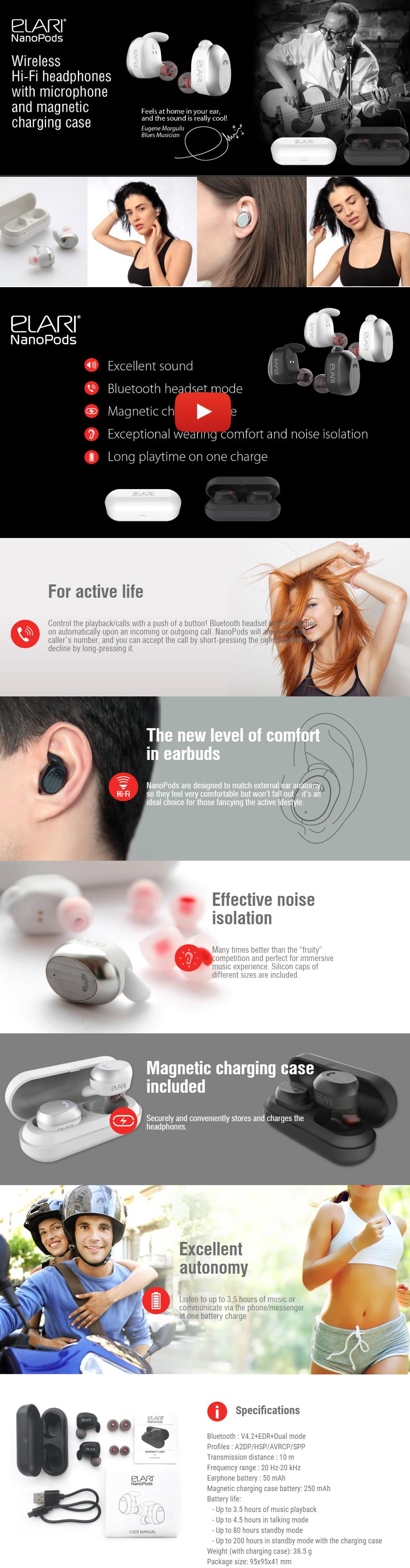 Elari NanoPods Wireless Earbuds Black    Наушники    Наушники ... dda3752c1f6